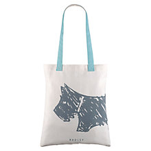Buy Radley Scribble Dog Cotton Tote Bag, Blue/Cream Online at johnlewis.com