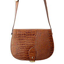 Buy Joules Shoreditch Across Body Leather Croc Saddle Bag, Brown Online at johnlewis.com