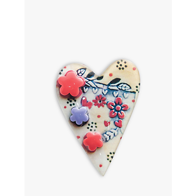 One Button Almond Heart Brooch, Multi