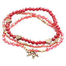Buy One Button Glitter Glass Bead Triple Strand Bracelet, Red Online at johnlewis.com