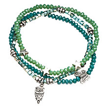 Buy One Button Glass Bead Triple Band Stretch Bracelet, Green Online at johnlewis.com