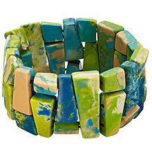 Buy One Button Marbled Jigsaw Stretch Bracelet, Turquoise/Lime Online at johnlewis.com