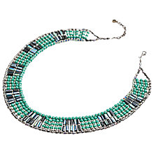 Buy One Button Glass Woven Green Collar Necklace, Green Online at johnlewis.com