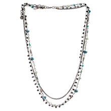 Buy One Button Glass Bead Three Strand Necklace, Teal Online at johnlewis.com