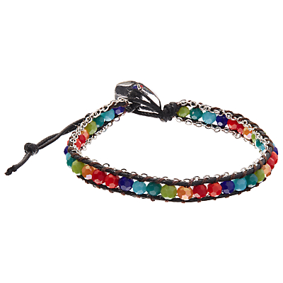 One Button Glass Bead Friendship Bracelet, Silver/Multi