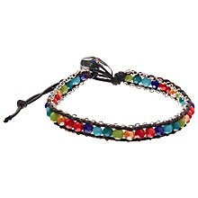 Buy One Button Glass Bead Friendship Bracelet, Silver/Multi Online at johnlewis.com