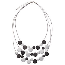 Buy One Button Illusion Triple Row Disc Necklace, Black/Silver Online at johnlewis.com
