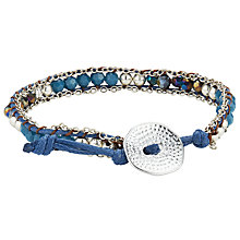 Buy One Button Denim Silver Toned Glass Bead Friendship Bracelet, Navy Online at johnlewis.com