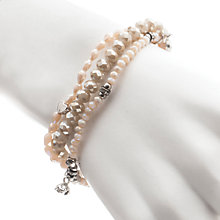 Buy One Button Triple Strand Glitter Bead Bracelet, Pearl Online at johnlewis.com