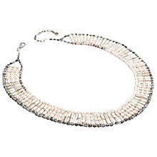 Buy One Button Woven Glass Beads Oyster Collar Necklace, Oyster Online at johnlewis.com