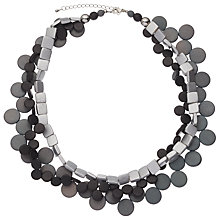 Buy One Button Triple Row Disk Necklace, Grey/Silver Online at johnlewis.com