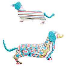 Buy One Button Sausage Dogs Pair Brooch, Turquiose Online at johnlewis.com
