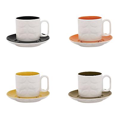 Orla Kiely Rasied Stem Espresso Cups and Saucers, Set 4