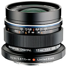 Buy Olympus M.ZUIKO DIGITAL ED 12mm f/2.0 Compact Wide Angle Lens Online at johnlewis.com