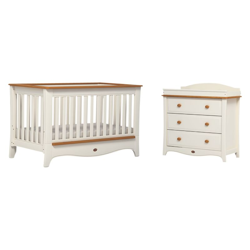 Boori Boori Provence Convertible Plus Cotbed and 3-Drawer Dresser, Honey/Ivory