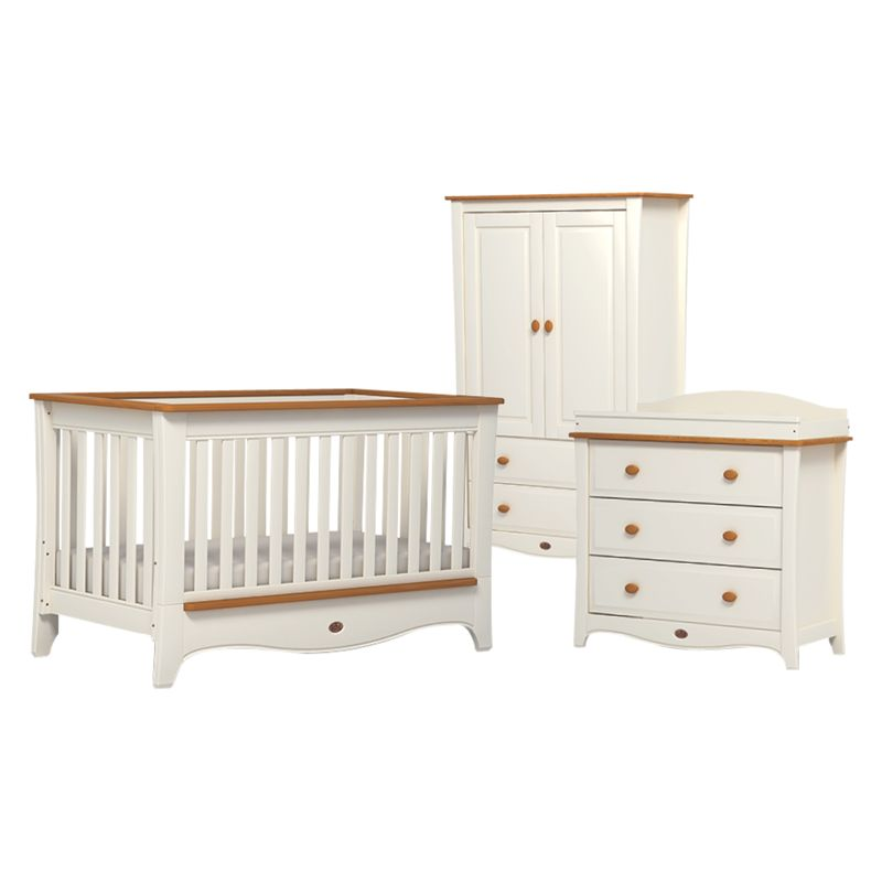 Boori Boori Provence Convertible Plus Cotbed, 3-Drawer Dresser and Wardrobe, Honey/Ivory