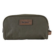 Buy Barbour Drywax Cotton Wash Bag, Olive Online at johnlewis.com