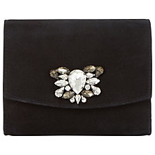 Buy Dune Bernadette Embellished Clutch Bag, Black Suede Online at johnlewis.com