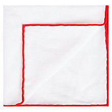 Buy Aquascutum Waver Cotton Pocket Square, White/Red Online at johnlewis.com