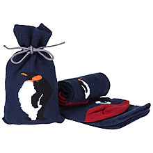Buy John Lewis Penguin Socks in a Bag, One Size, Navy/Red Online at johnlewis.com