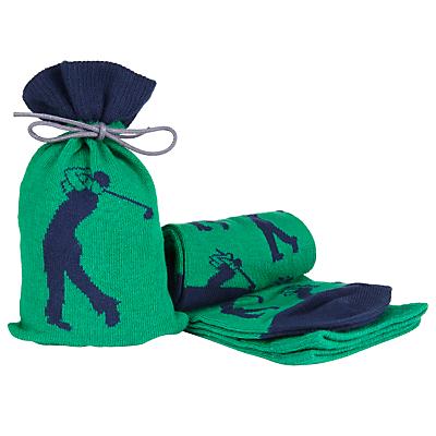 John Lewis Golf Socks in a Bag, One Size, Green/Navy
