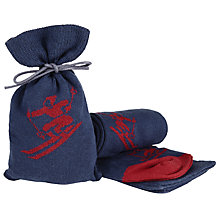 Buy John Lewis Skier Socks in a Bag, One Size, Navy/Red Online at johnlewis.com