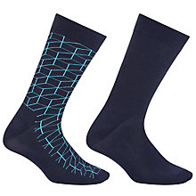 Buy Happy Socks Optic and Plain Socks, Pack of 2, One Size, Blue Online at johnlewis.com