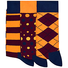 Buy Happy Socks Argyle and Spot Socks, Pack of 3, One Size Online at johnlewis.com