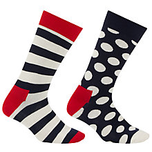 Buy Happy Socks Big Dot and Stripe Socks, Pack of 2, One Size, Blue Online at johnlewis.com