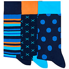 Buy Happy Socks Large Spot and Stripe Socks, Pack of 3, One Size Online at johnlewis.com