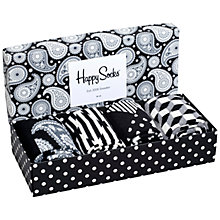 Buy Happy Socks Patterned Socks Gift Box, One Size, Pack of 4, Black/White Online at johnlewis.com