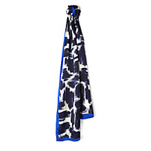 Buy Jaeger Brushstroke Silk Scarf, Navy/White Online at johnlewis.com