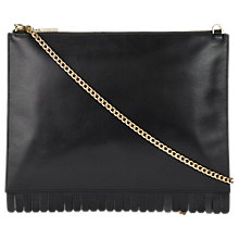 Buy Whistles Fringe Leather Rington Clutch Bag, Black Online at johnlewis.com