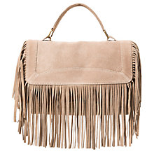 Buy Mango Fringed Suede Handbag, Light Beige Online at johnlewis.com