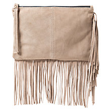 Buy Mango Fringed Suede Clutch Handbag Online at johnlewis.com