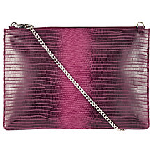 Buy Whistles Graduated Lizard Rivington Clutch Bag, Burgundy Online at johnlewis.com