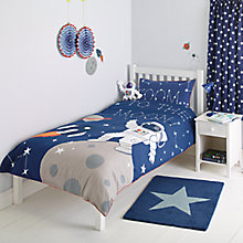 Buy little home at John Lewis Moon & Back Applique Duvet Cover and Pillowcase Set, Single Online at johnlewis.com