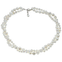 Buy Lido Rhodium Plated Freshwater Pearl Double Row Twist Necklace, White Online at johnlewis.com