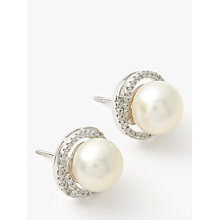 Buy Lido Rhodium Plated Large Pearl Stud Cubic Zirconia Twist Stud Earrings, White Online at johnlewis.com