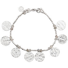 Buy Azuni Silver Plated Hammered Coin Charm Bracelet, Labradorite Online at johnlewis.com