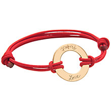 Buy Message by Merci Maman 18ct Gold Plated Perfect Love Bracelet, Red/Gold Online at johnlewis.com