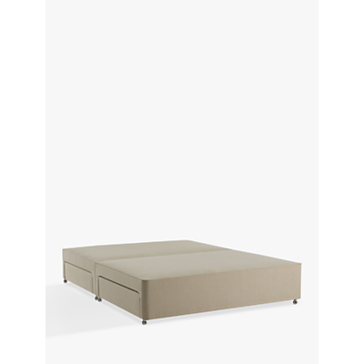 John Lewis 4 Drawer Canvas Covered Sprung Small Double Divan, Pebble