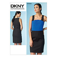 Buy Vogue DKNY Women's Pleat Detail Fitted Dress Sewing Pattern, 1444 Online at johnlewis.com
