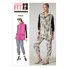 Buy Vogue Women's Sleeveless Jacket and Cropped Trousers Sewing Pattern, 1453, One Size Online at johnlewis.com