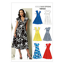 Buy Vogue Women's Cap Sleeve Midi Dress Sewing Pattern, 9103 Online at johnlewis.com
