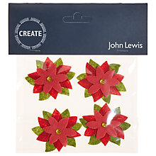 Buy John Lewis Diamante Poinsettias Paper Toppers, Pack of 4 Online at johnlewis.com