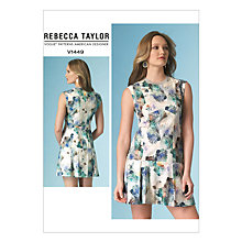 Buy Vogue Rebecca Taylor Women's Short Pleat Detail Dress Sewing Pattern, 1449 Online at johnlewis.com