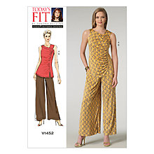 Buy Vogue Women's Pleated Top and Flared Trousers Sewing Pattern, 1452, One Size Online at johnlewis.com