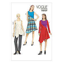 Buy Vogue Women's Asymmetric Tunic, Dress and Trousers Sewing Pattern, 9107 Online at johnlewis.com