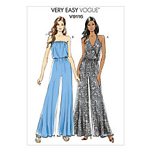 Buy Vogue Very Easy Women's Jumpsuit Sewing Pattern, 9116 Online at johnlewis.com